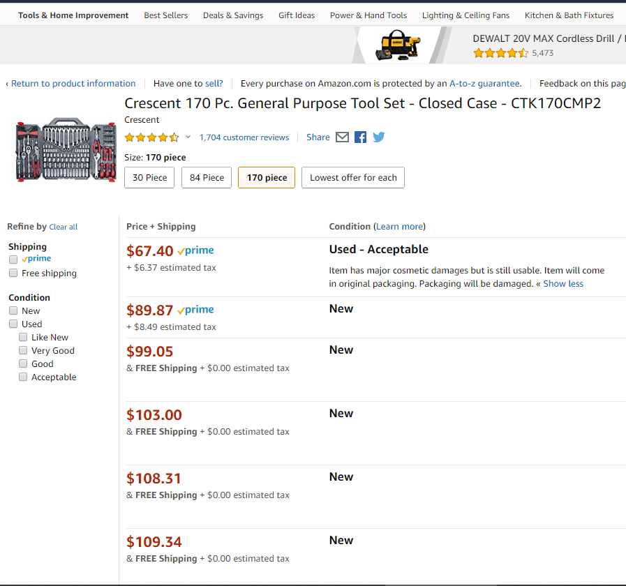 Screenshot Of Amazon Warehouse - Outlet DealsPage, A Bargain On A 170 pc Toolset Deals On Used Items