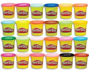 24 cans of different colors of play-doh stacked 6 wide and 4 high